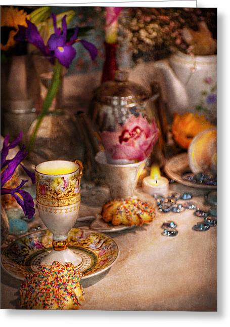 Tea Party Greeting Cards - Tea Party - The magic of a tea party  Greeting Card by Mike Savad
