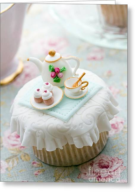 Fondant Greeting Cards - Tea party cupcake Greeting Card by Ruth Black