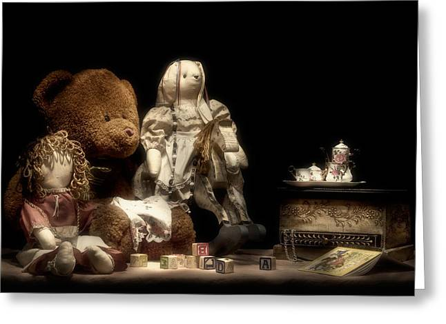 Toy Animals Greeting Cards - Tea Party Greeting Card by Tom Mc Nemar