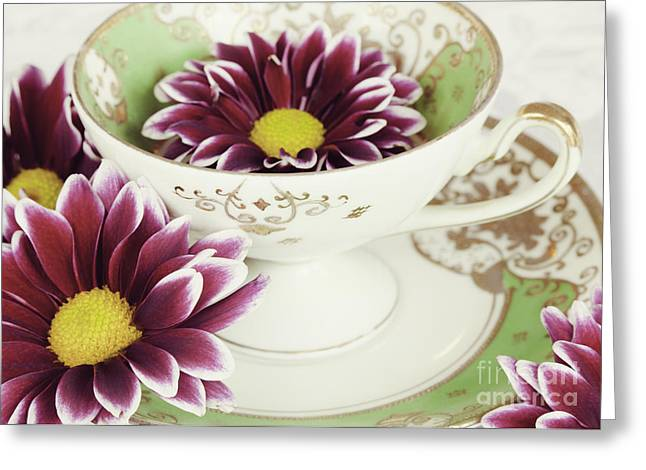 Tea Petals Greeting Card by Kim Fearheiley