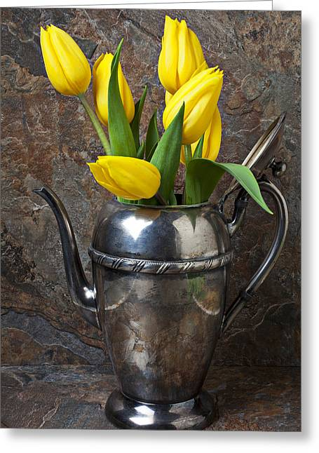 Old Pitcher Photographs Greeting Cards - Tea Pot and Tulips Greeting Card by Garry Gay