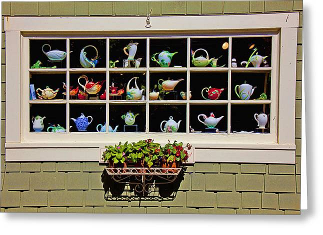 Tea Pots In Window Greeting Card by Garry Gay