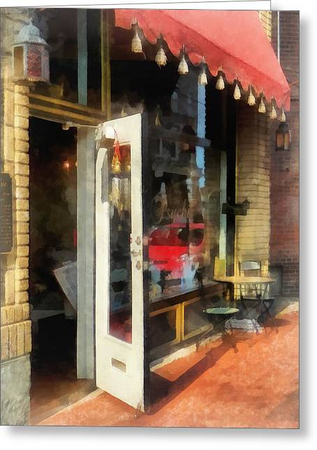 Cities Greeting Cards - Tea Room in SoNo Norwalk CT Greeting Card by Susan Savad