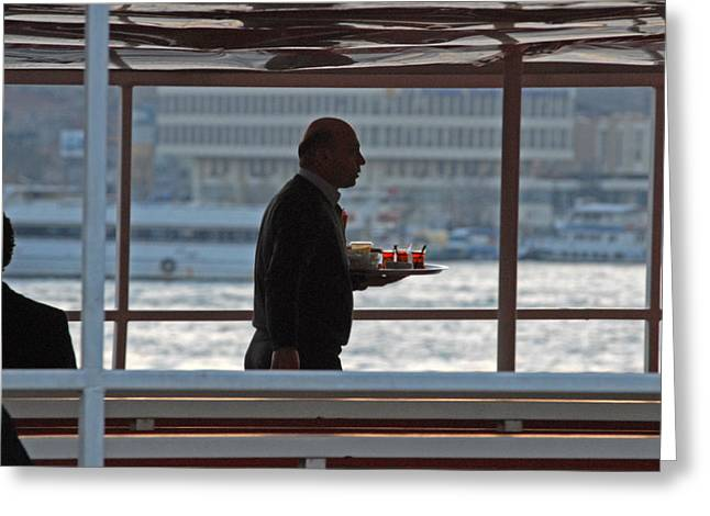 Greeting Cards - Tea service in Istanbul Greeting Card by Arvind Garg