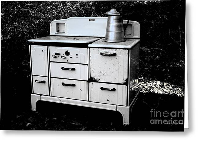 Old Stove Greeting Cards - Tea Time Greeting Card by Cheryl Young