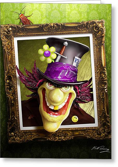 Mad Hatter Greeting Cards - Tea Time for the Twisted Greeting Card by Bill Fleming