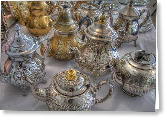 Algerian Greeting Cards - Tea Time Greeting Card by Jane Linders