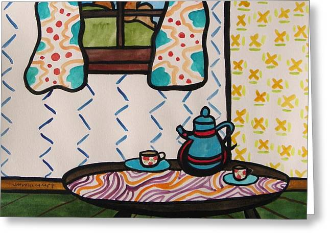 Interior Still Life Drawings Greeting Cards - Tea Time Greeting Card by John  Williams