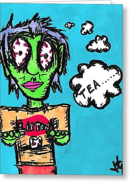 Tea Zombie Greeting Card by Jera Sky