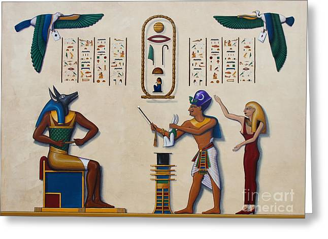 Hathor Greeting Cards - Teaching an Old God New Tricks Greeting Card by Richard Deurer