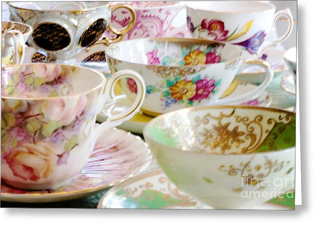 Ladylike Greeting Cards - Teacups Greeting Card by Kim Fearheiley