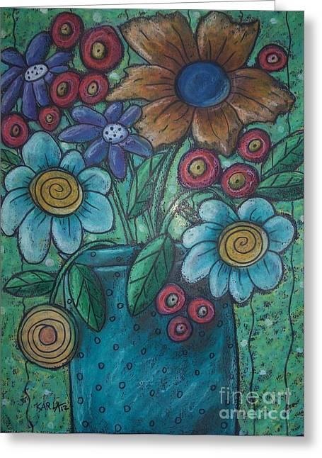 Oil Pastels Pastels Greeting Cards - Teal Pot Greeting Card by Karla Gerard