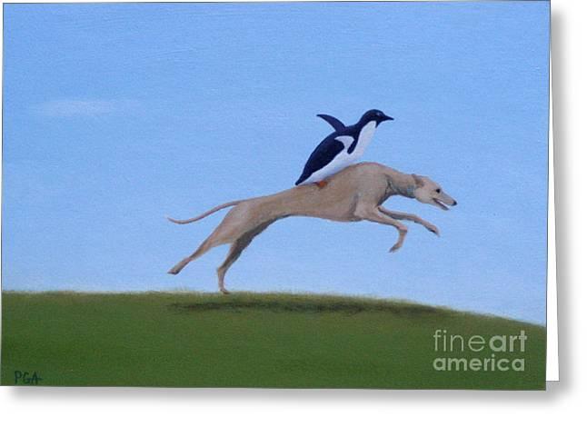 Greyhound Dog Greeting Cards - Team Effort Greeting Card by Phyllis Andrews