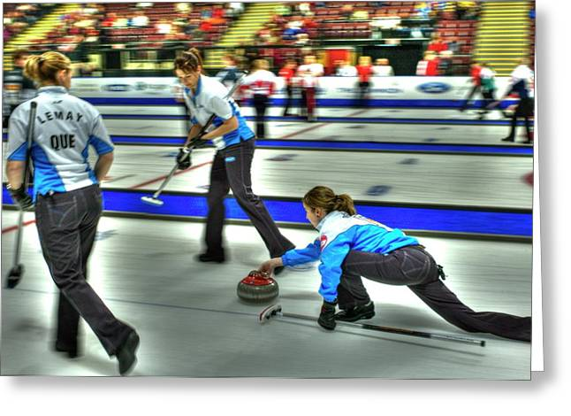Girl Sports Greeting Cards - Team Quebec Throws Greeting Card by Lawrence Christopher