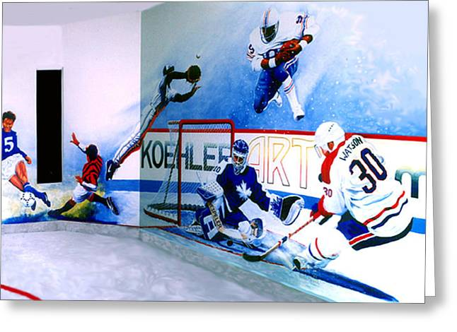 Canadian Sports Artist Greeting Cards - Team Sports Mural Greeting Card by Hanne Lore Koehler