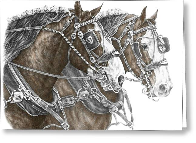 Equus Greeting Cards - Team Work - Clydesdale Draft Horse Print color tinted Greeting Card by Kelli Swan