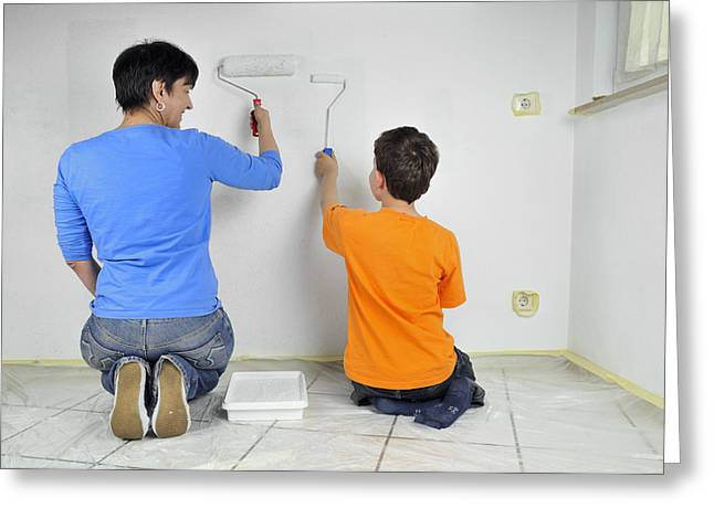 Teamwork - Mother And Child Painting Wall Greeting Card by Matthias Hauser