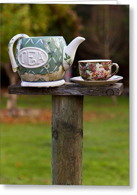 Balancing Greeting Cards - Teapot and tea cup on old post Greeting Card by Garry Gay