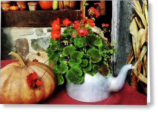 Geranium Greeting Cards - Teapot Filled With Geraniums Greeting Card by Susan Savad
