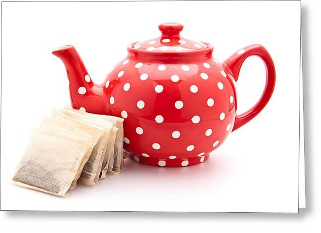 Broken Keys Greeting Cards - Teapot Greeting Card by Tom Gowanlock