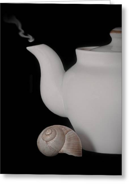 Teapot Greeting Card by Victoria Martin