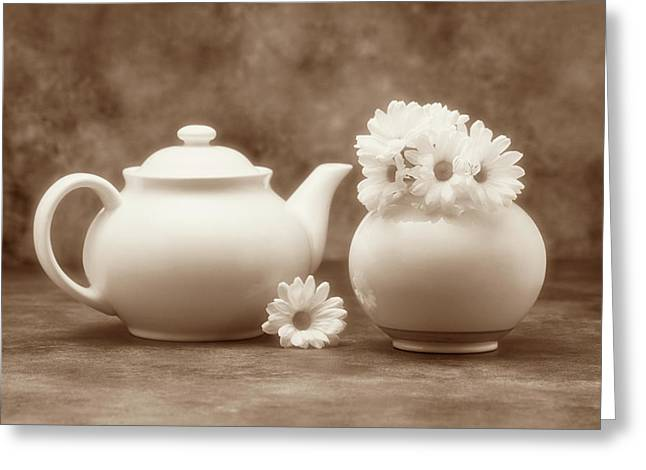 Daisy Greeting Cards - Teapot with Daisies II Greeting Card by Tom Mc Nemar