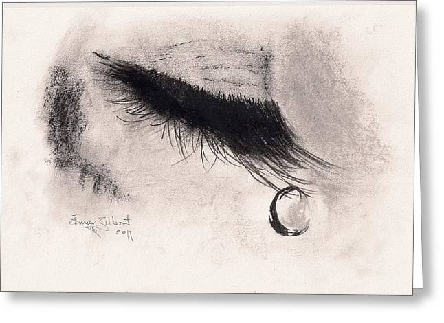 Tears Pastels Greeting Cards - Tear On A Lash Greeting Card by Eamon Gilbert