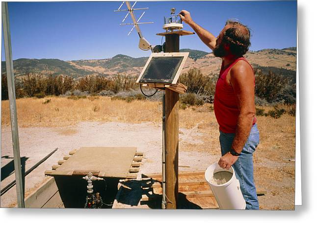 Experiment Greeting Cards - Technician Checks Earthquake Equipment: Parkfield Greeting Card by David Parker