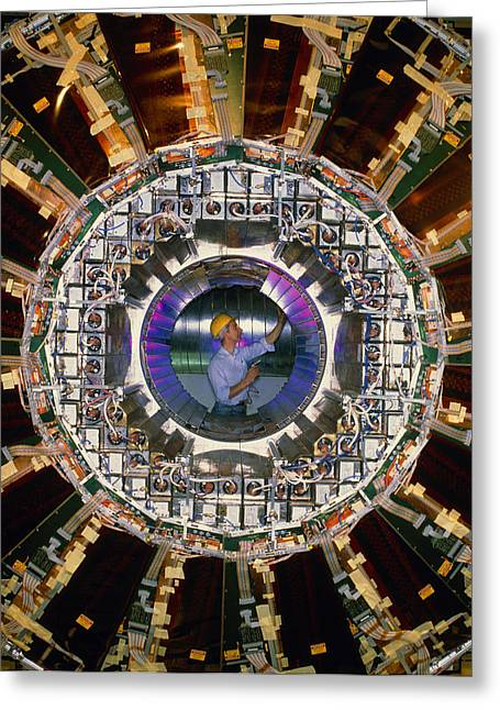 Cern Greeting Cards - Technician In Opal Detector, Cern Greeting Card by David Parker