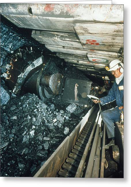Noise . Sounds Photographs Greeting Cards - Technician Measures Noise Levels In A Coal Mine Greeting Card by Crown Copyrighthealth & Safety Laboratory