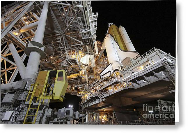 Spaceflight Greeting Cards - Technicians Begin To Roll The Rotating Greeting Card by Stocktrek Images