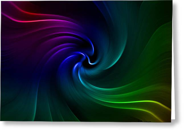 Abstract Waves Greeting Cards - Technicolor Waves Greeting Card by Anthony Caruso