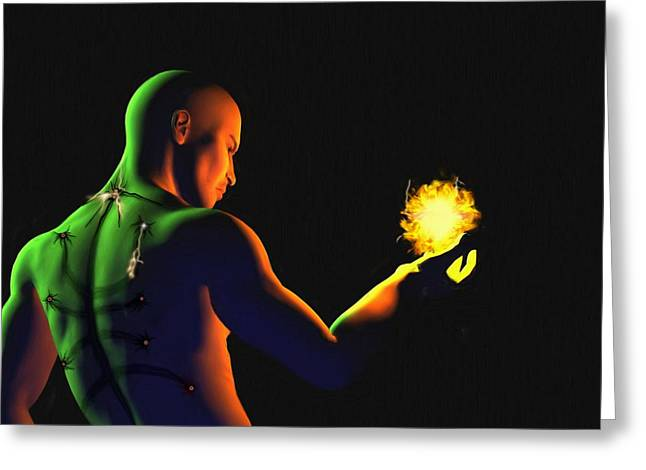 Mage Greeting Cards - Technomage Uncloaked II Greeting Card by Pet Serrano