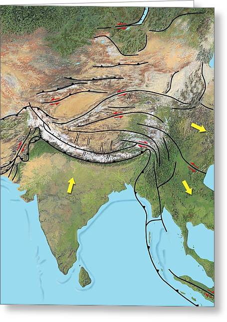 Merging Greeting Cards - Tectonic Map Of Asia Greeting Card by Gary Hincks