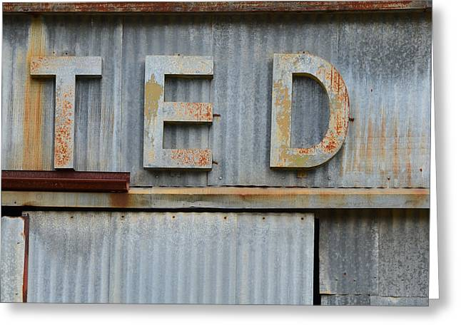 Information Age Photographs Greeting Cards - TED Rusty Name Sign Art Greeting Card by Nikki Marie Smith