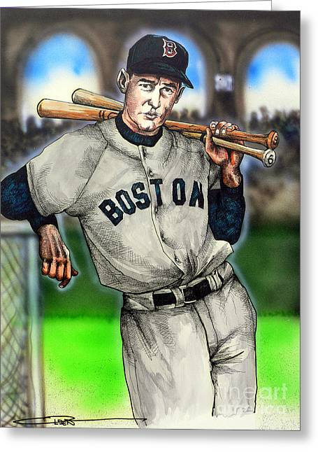 Red Sox Drawings Greeting Cards - Ted Williams Greeting Card by Dave Olsen