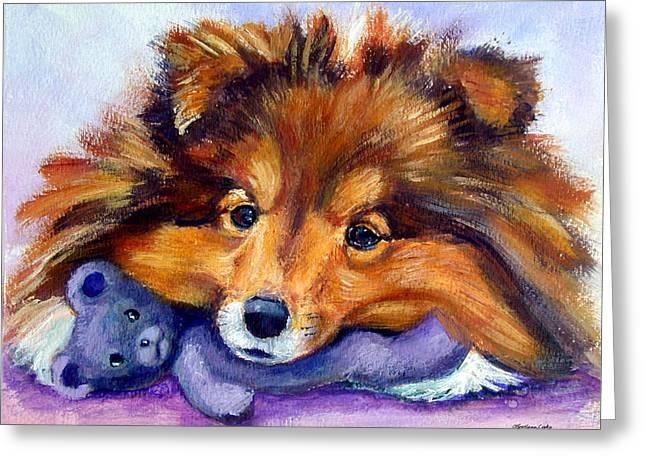 Sheepdog Greeting Cards - Teddy Bear Love - Shetland Sheepdog Greeting Card by Lyn Cook