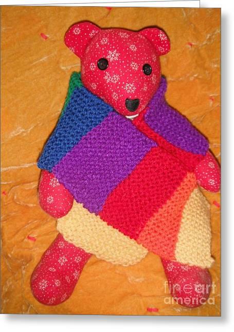 Jordan Wall Art Greeting Cards - Teddy Bear Wearing Rainbow Scarf Greeting Card by Jeannie Atwater Jordan Allen