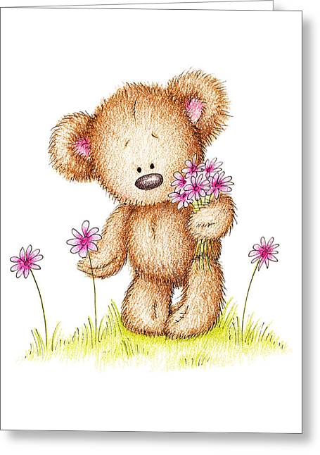 Doll Drawings Greeting Cards - Teddy Bear With Pink Flowers Greeting Card by Anna Abramska
