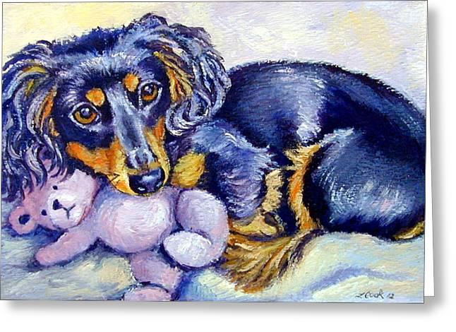 Teddy Cuddles - Dachshund Greeting Card by Lyn Cook
