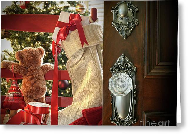 Christmas Doors Greeting Cards - Teddy waiting for christmas time Greeting Card by Sandra Cunningham