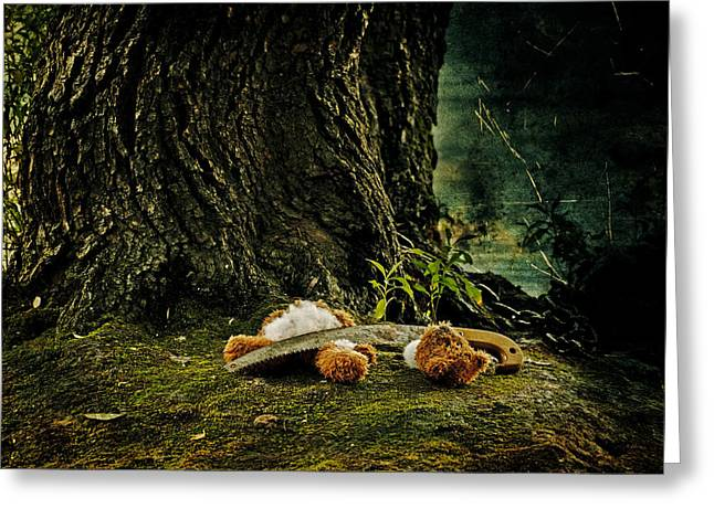 Saw Greeting Cards - Teddy With A Saw Greeting Card by Joana Kruse