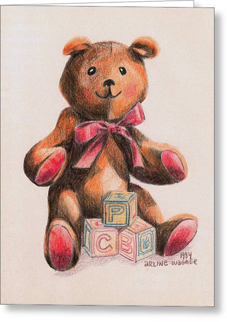 Baby Animal Drawings Greeting Cards - Teddy With Blocks Greeting Card by Arline Wagner