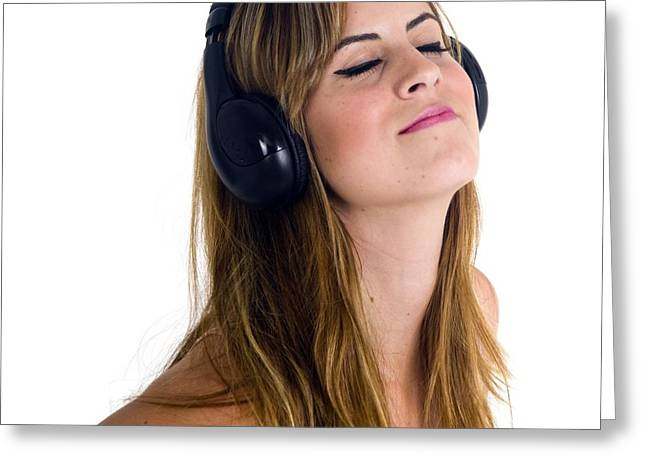 Women Only Greeting Cards - Teen Enjoys Music On Her Headphone Greeting Card by Photostock-israel