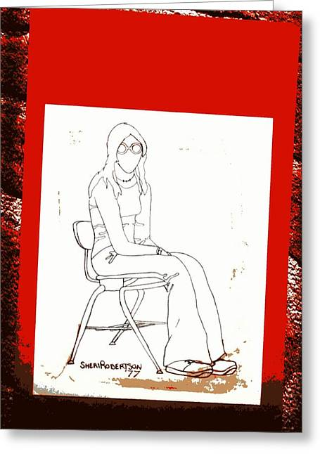 Haunted Schools Mixed Media Greeting Cards - Teen Girl in School Chair Greeting Card by Sheri Parris