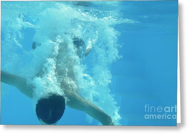 Adolescence Greeting Cards - Teenage boy taking the plunge in pool Greeting Card by Sami Sarkis