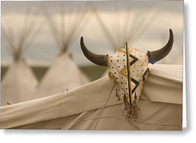 Reenact Greeting Cards - Teepees At Ft. Union Trading Post Greeting Card by Phil Schermeister