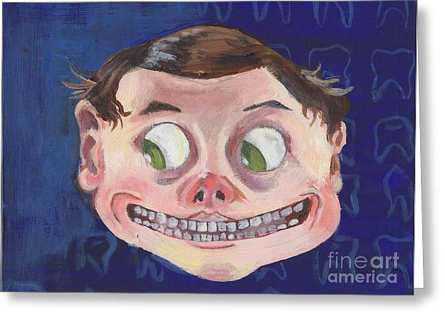 Quirky Mixed Media Greeting Cards - Teeth Greeting Card by Adder Rathbone