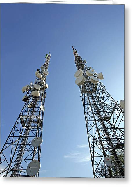 Cellphone Greeting Cards - Telecommunications Masts Greeting Card by Carlos Dominguez