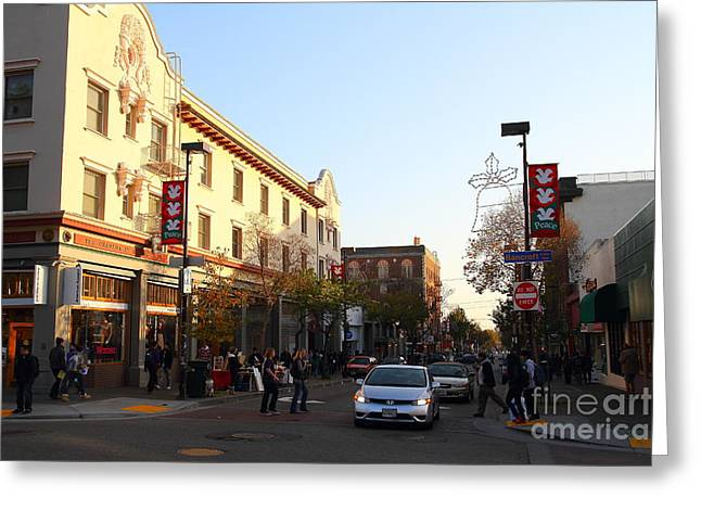 College Avenue Greeting Cards - Telegraph Avenue at Bancroft Way In Berkeley California  . 7D10173 Greeting Card by Wingsdomain Art and Photography